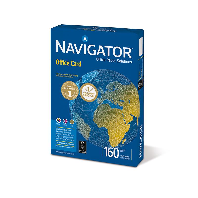 Papīrs NAVIGATOR OFFICE CARD A4 formāts 160g/m2, 250 loksnes/iepakojumā