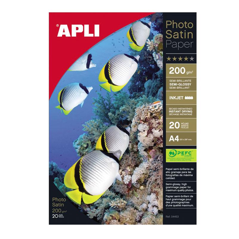 Fotopapīrs APLI Satin PRO InkJet A4 200 g/m2, 20 loksnes/iepakojumā
