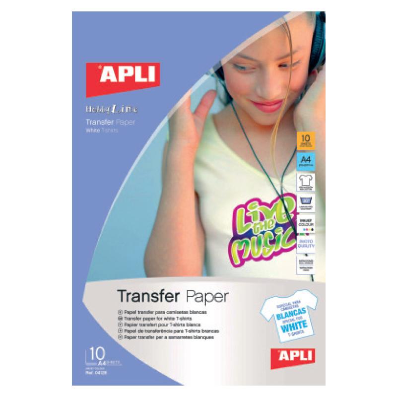 Papīrs APLI 'T-shirt transfer', 10 lapas, baltajam audumam