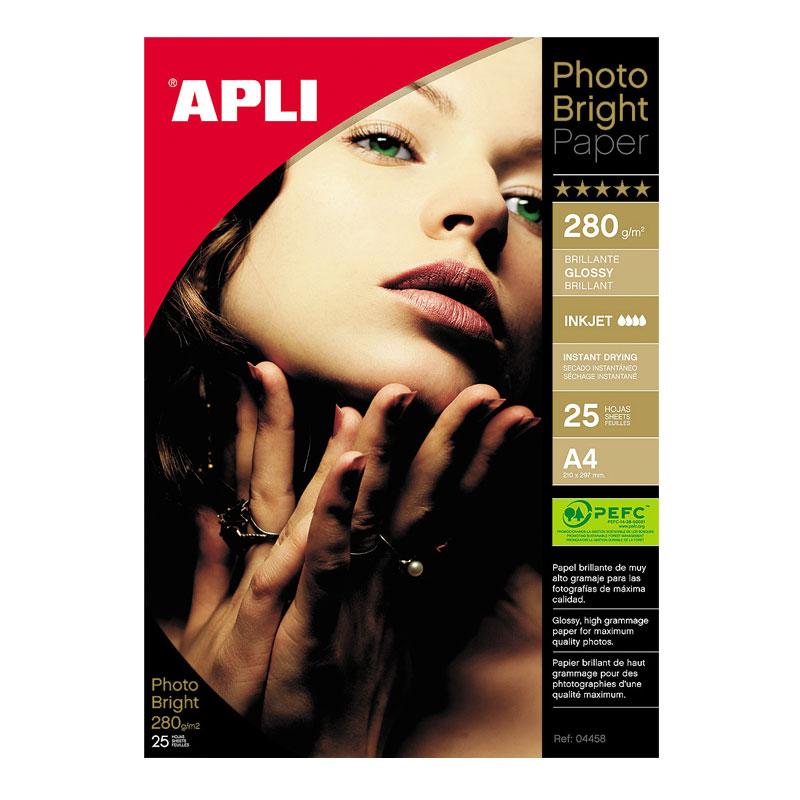 Fotopapīrs APLI Photo Bright PRO A4 280g/m2, 25 loksnes/iepak.
