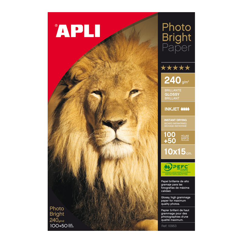 Fotopapīrs APLI InkJet Bright ar izmēru 10x15cm 240g/m2, 150 loksnes