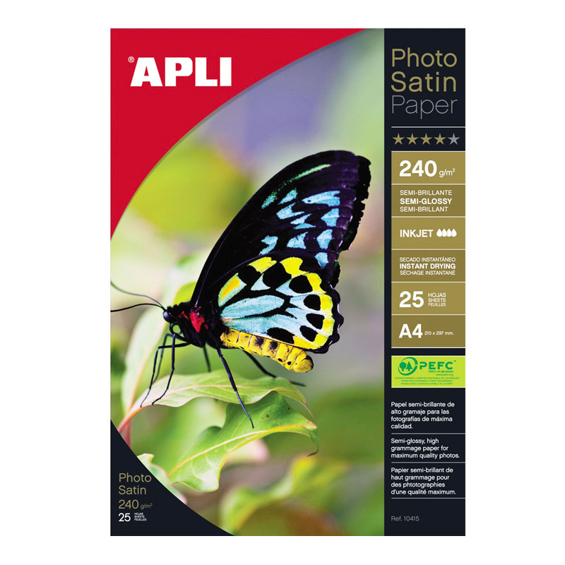 Fotopapīrs APLI Satin PRO InkJet A4 240 g/m2, 25 loksnes/iepakojumā
