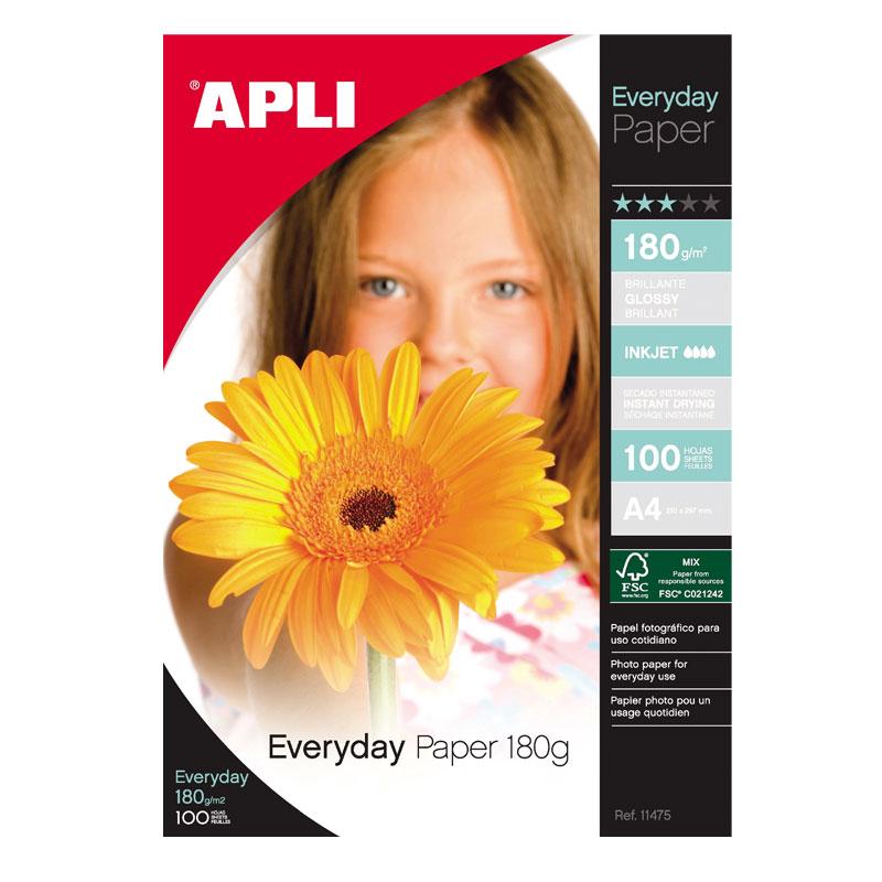 Fotopapīrs APLI Everyday paper InkJet, glancēts, A4 180g/m2, 100 loksnes