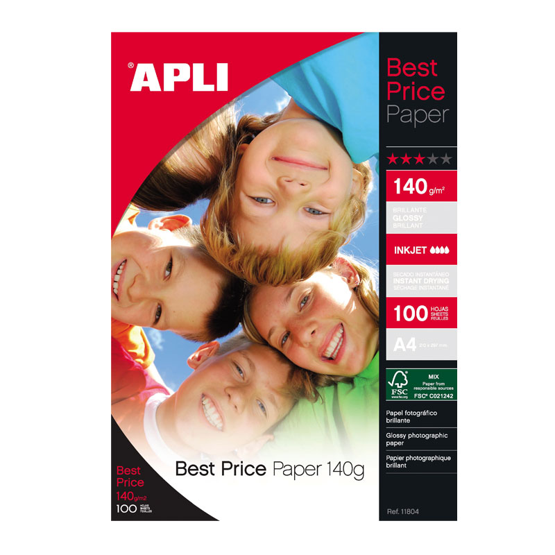 Fotopapīrs APLI Best Price InkJet, A4, 140g/m2, glancēts, 100 loksnes