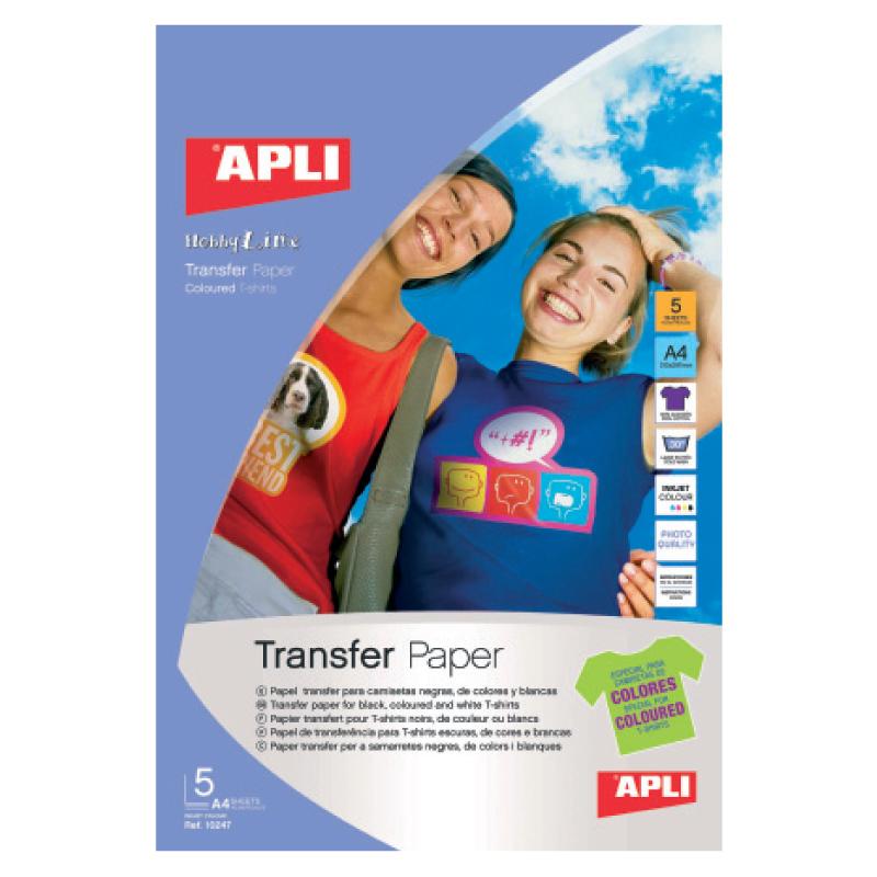 Papīrs APLI T-shirt transfer 5 lapas, krāsainam audumam