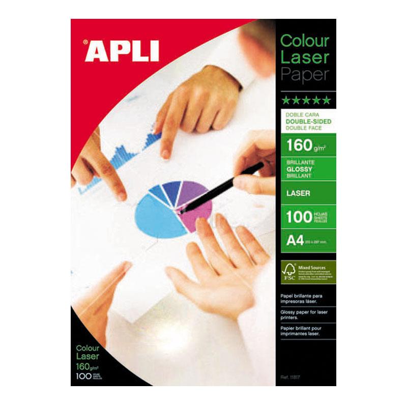 Papīrs APLI Colour Laser Glossy A4 160g/m2, divpusīgs, 100 loksnes/iepakojumā