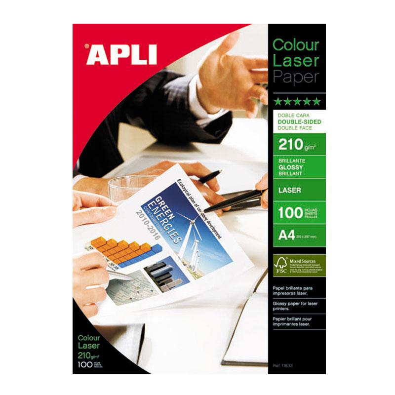 Papīrs APLI Colour Laser Glossy A4 210g/m2, divpusīgs, 100 loksnes/iepakojumā
