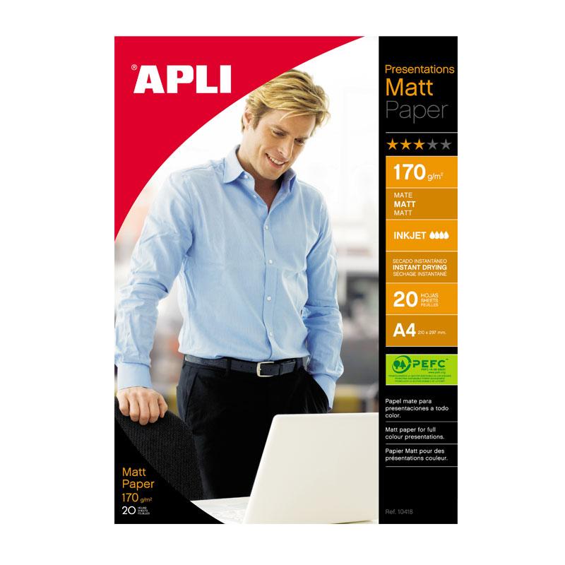Papīrs APLI InkJet Matt, divpusīgs, A4 170g/m2, 20 loksnes/iepak.