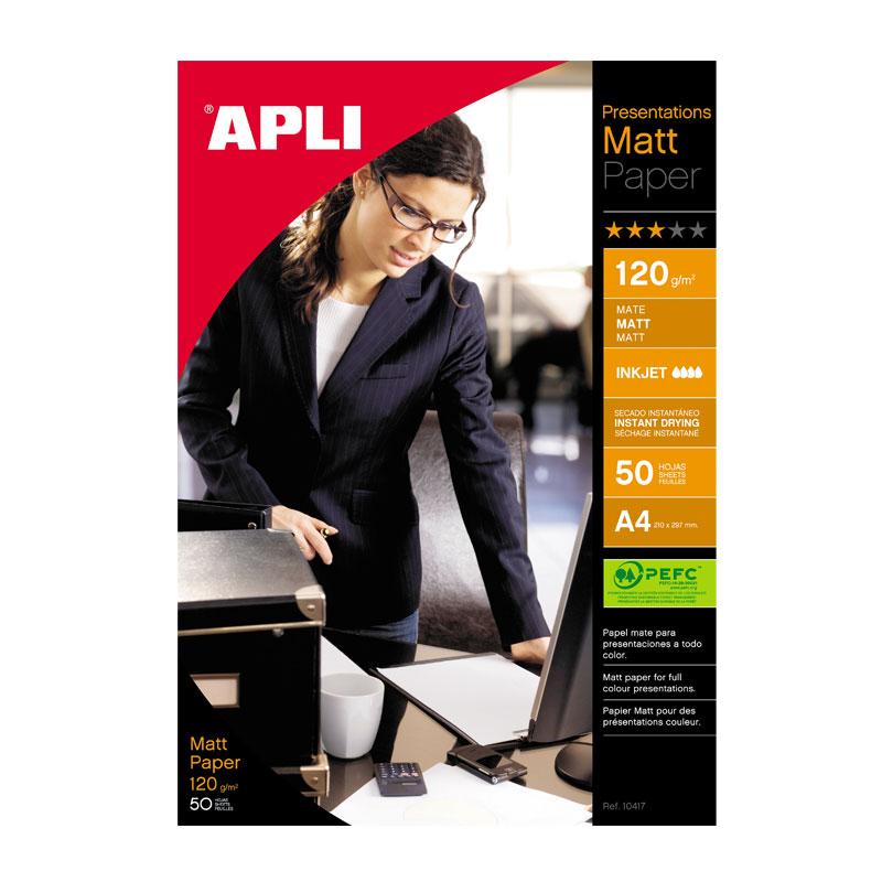 Papīrs APLI InkJet Matt A4 120g/m2, 50 loksnes/iepakojumā