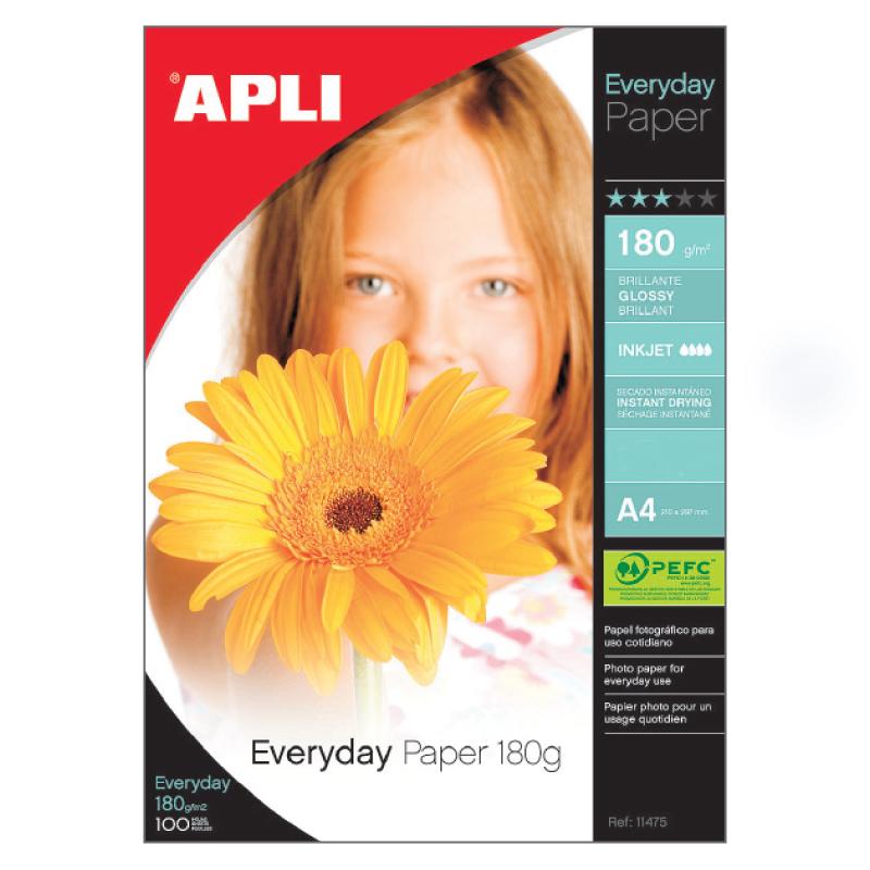 Fotopapīrs APLI Everyday 180 g/m2, glancēts  A4, 20 lapas/iepak.