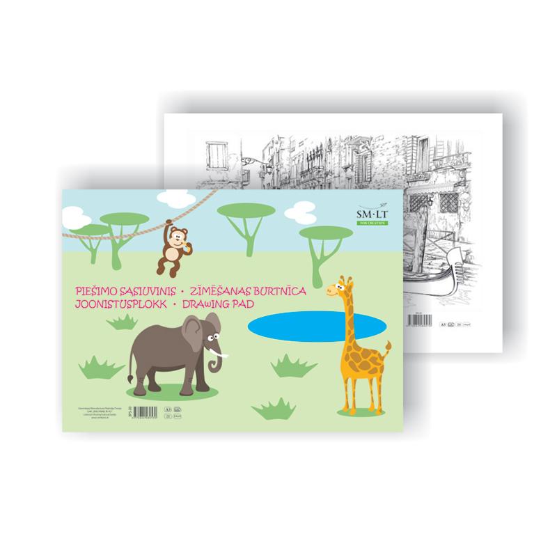 Zīmēšanas albums SMLT A3 formāts, 20 lapas,120 g/m2