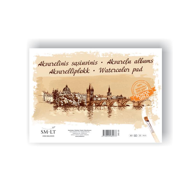 Akvareļu zīmēšanas albums SMLT A3 formāts,210 g,10 lapas