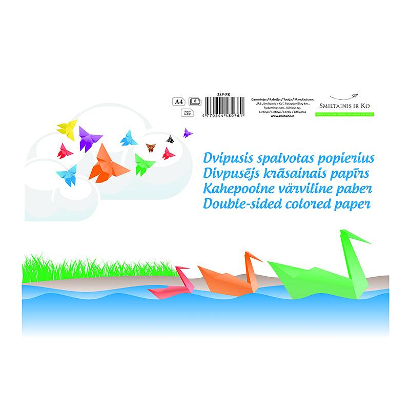 Aplikāciju papīrs Smiltainis A4, divpusīgs, 8 lapas, assorti, 80g/m2
