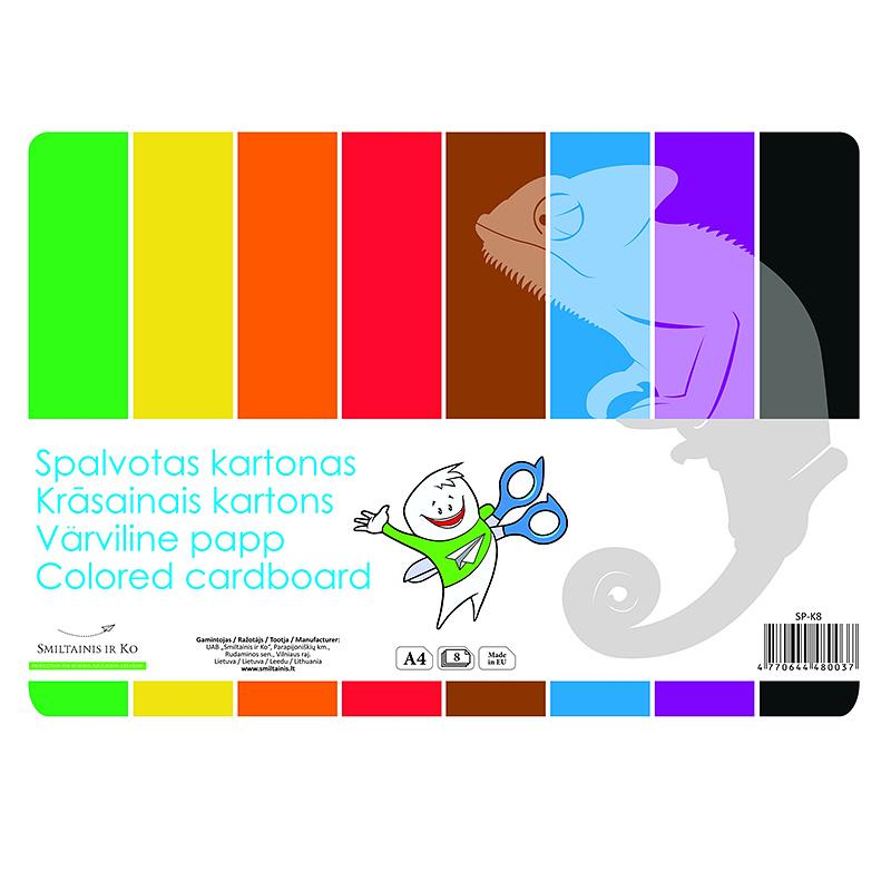 Tonēts kartons SMILTAINIS A4 formāts, 8 krāsas