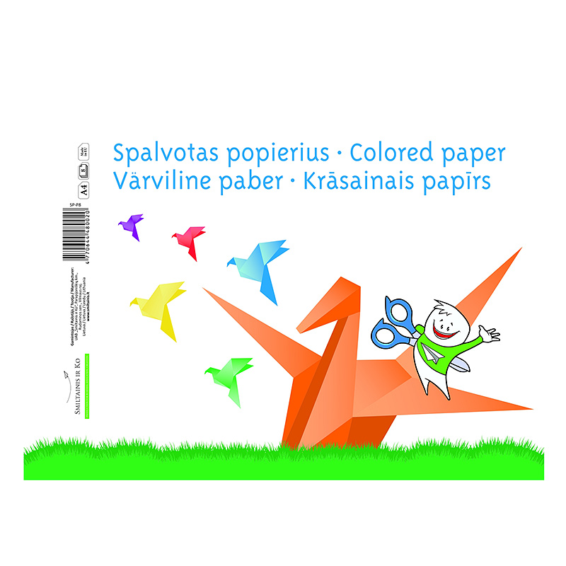 Aplikācijas papīrs Smiltainis A4, 8 loksnes,asorti krāsas