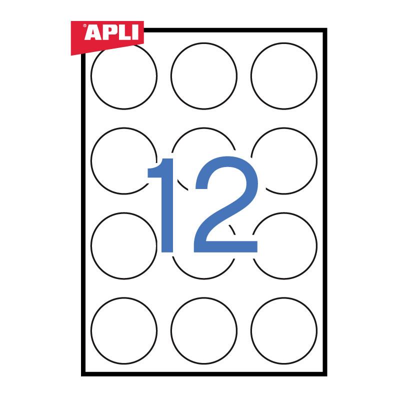 Apaļas uzlīmes APLI ILC ar diametru 60mm,100 loksnes/12 uzlīmes loksnē
