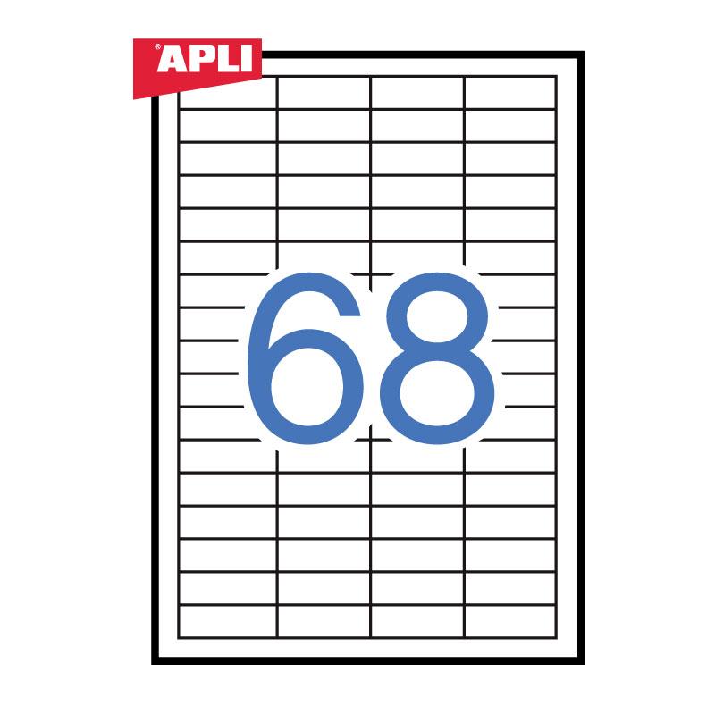 Uzlīmes APLI ILC ar izmēru 48.5x16.9mm, 100 loksnes/68 uzlīmes loksnē (01282, 03053;3128)