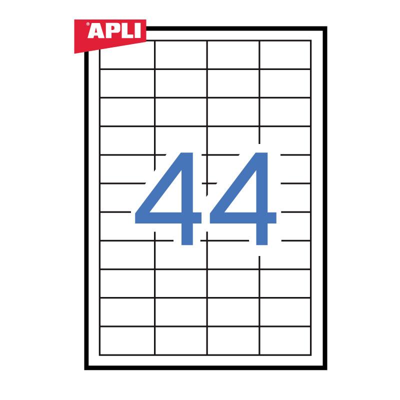 Uzlīmes APLI ILC ar izmēru 48.5x25.4mm, 100loksnes/44 uzlīmes loksnē (01285, 03054;3129)