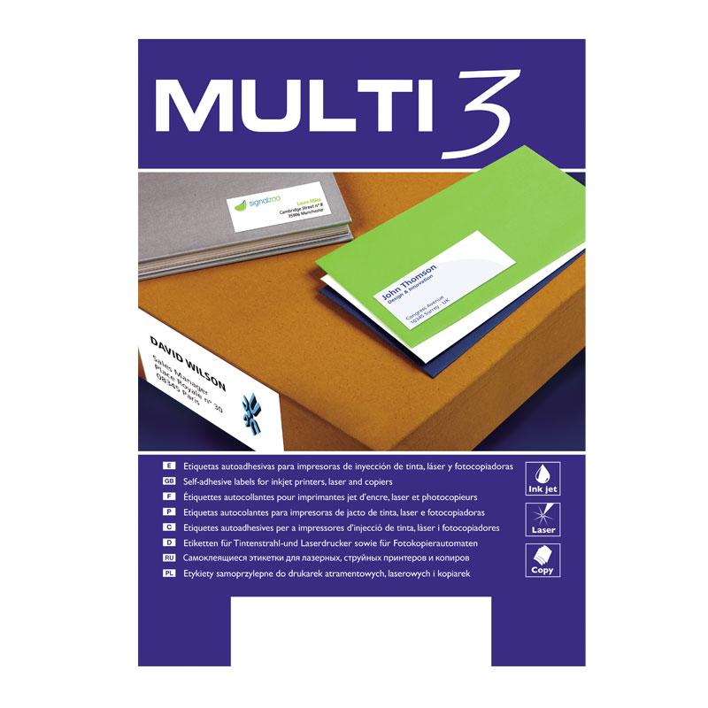 Uzlīmes MULTI 3 ar izmēru 63.5x38.1mm, 100 loksnes/21 uzlīme (ar noapaļotiem stūriem)