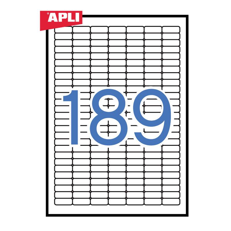 Uzlīmes APLI ar izmēru 25.4x10mm, 25 loksnes/iepak., 189 uzlīmes, noņemamas (ar noapaļotiem stūriem)