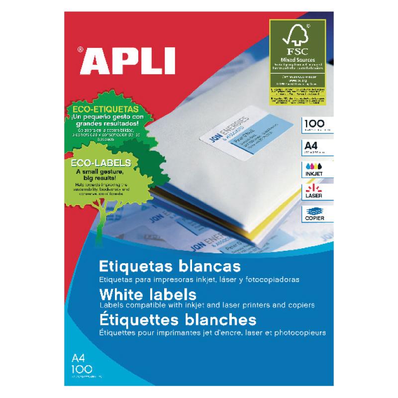 Uzlīmes APLI ILC ar izmēru 105x70mm, 100 loksnes/8 uzlīmes loksnē