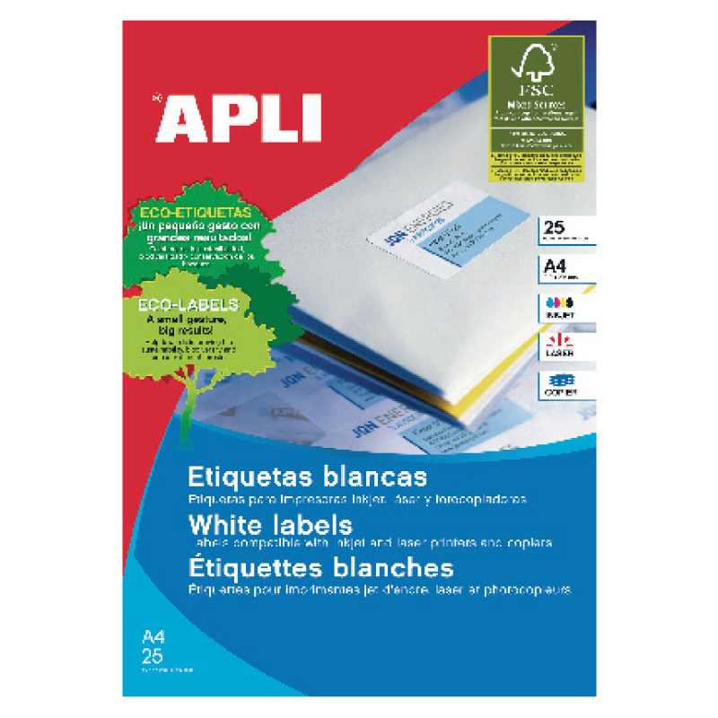 Uzlīmes APLI ILC ar izmēru 70x37mm, 25 loksnes/24 uzlīmes loksnē (10818)