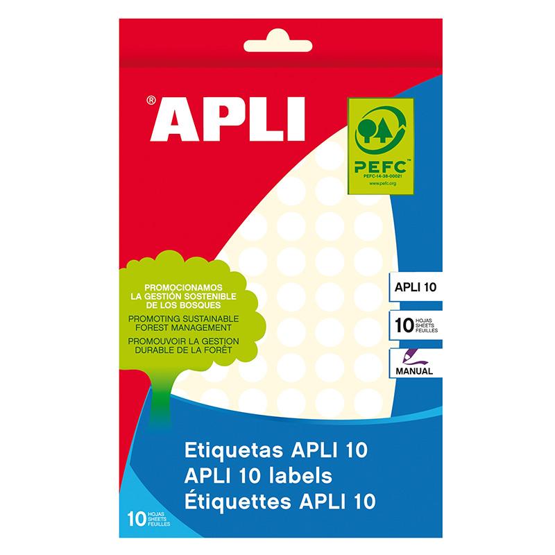 Apaļas uzlīmes APLI ar diametru 10mm, 10 loksnes/1260 uzlīmes baltas