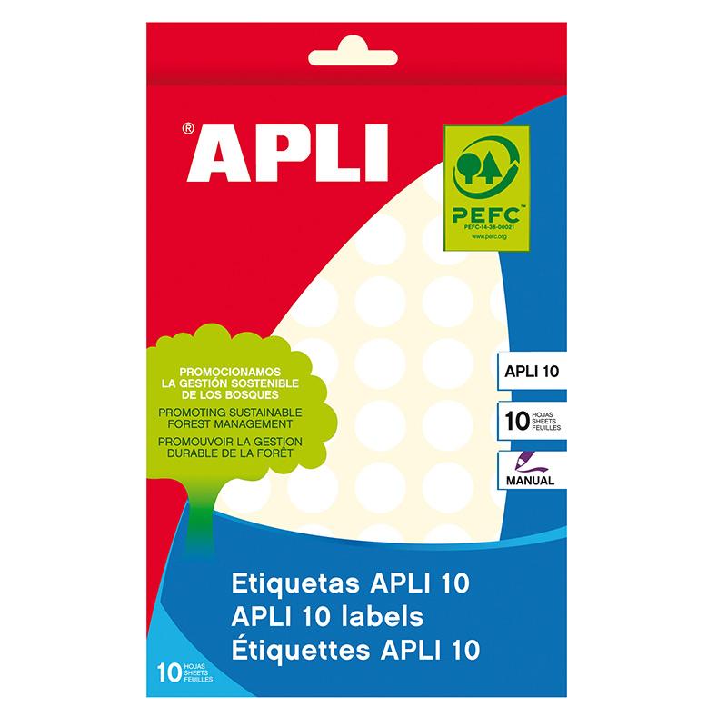 Apaļas uzlīmes APLI ar diametru 13mm, 10 loksnes/770 uzlīmes baltas