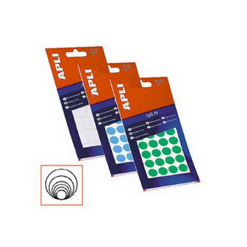 Apaļas uzlīmes APLI ar diametru 16mm, 10 loksnes/540 uzlīmes baltas