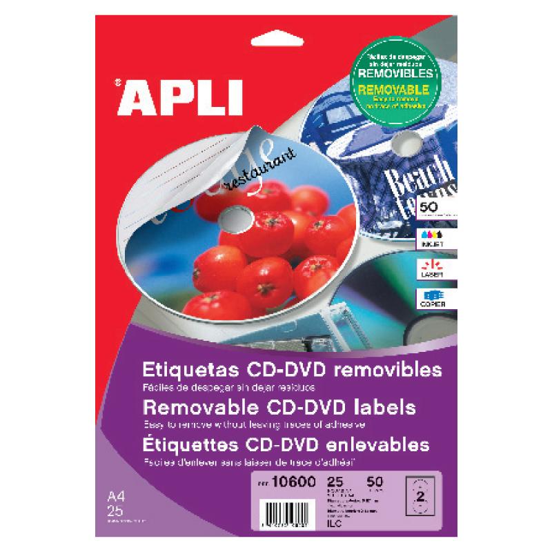 Uzlīmes CD/DVD Apli Mega ar diametru 117 mm, 25 loksnes, 50 uzlīmes
