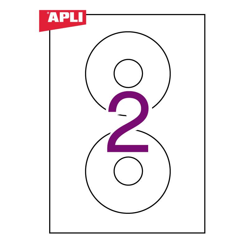 Uzlīmes APLI ILC CD ar diametru 114mm, 25 loksnes, 50 uzlīmes