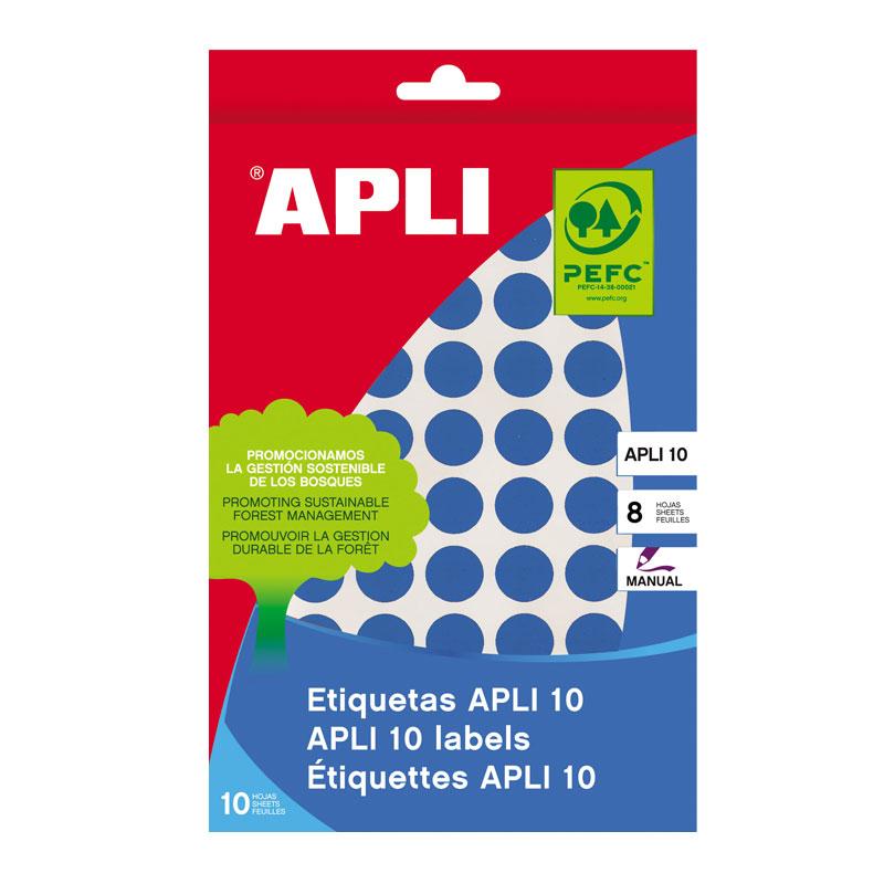 Apaļas uzlīmes APLI ar diametru 10mm, 8 loksnes, 1008 uzlīmes, zilas