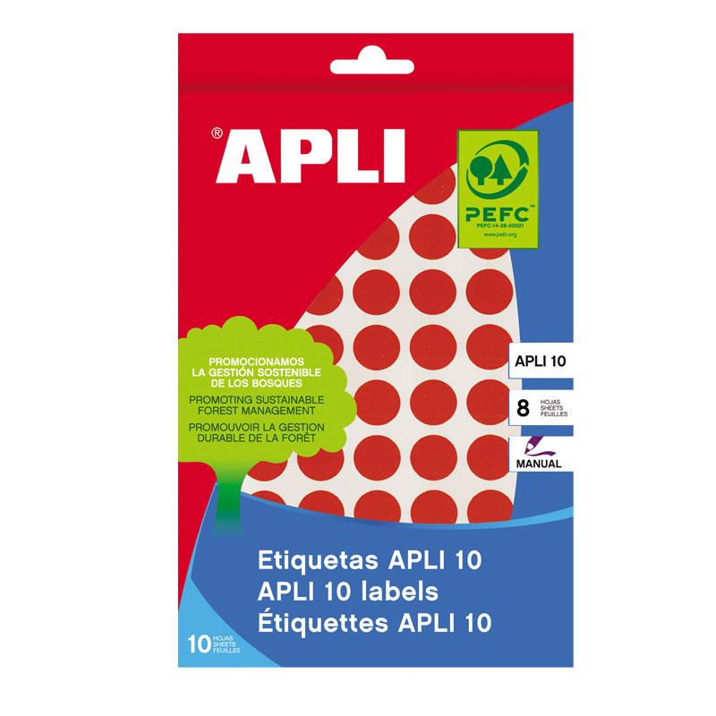 Apaļas uzlīmes APLI ar diametru 10mm, 8 loksnes, 1008 uzlīmes, sarkanas