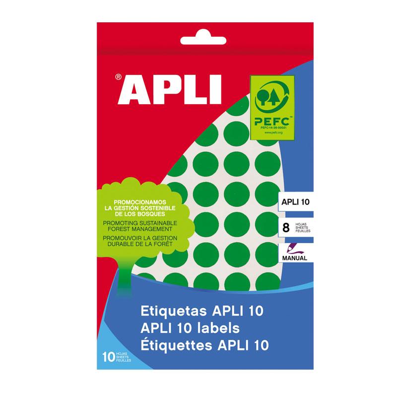 Apaļas uzlīmes APLI ar diametru 10mm, 8 loksnes, 1008 uzlīmes, zaļas