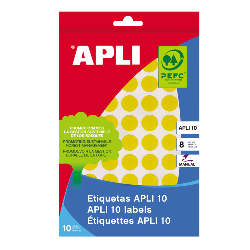 Apaļas uzlīmes APLI ar diametru 13mm, 8 loksnes, 616 uzlīmes, dzeltenas