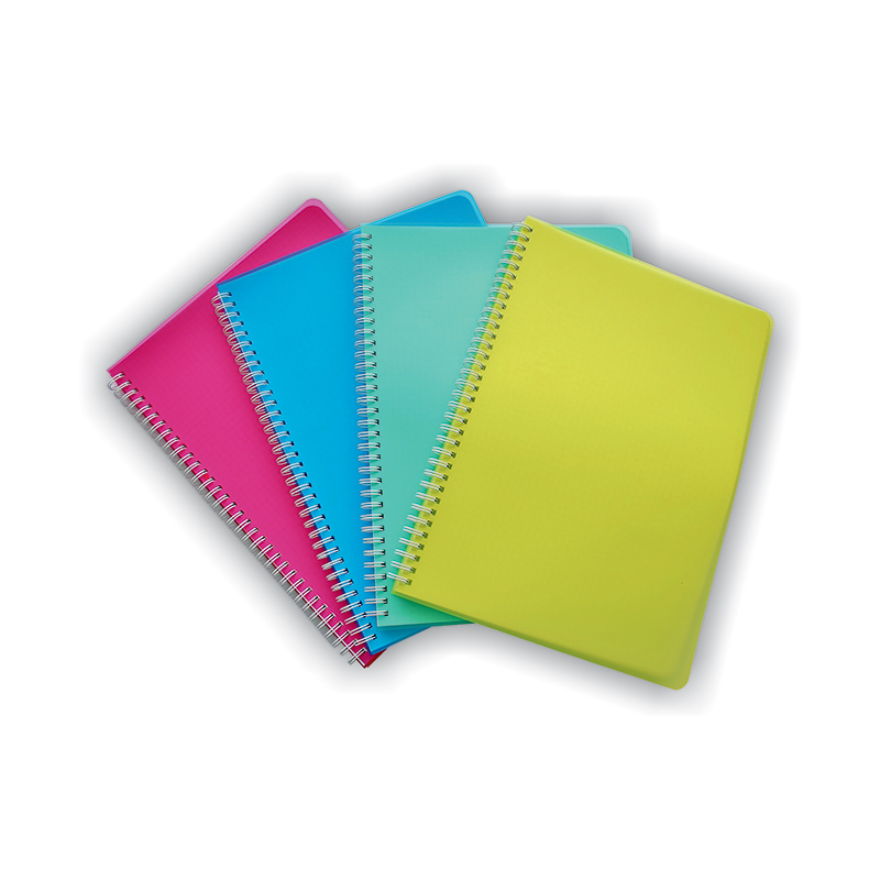 Klade ar spirāli SMLT rūtiņu, PP vāki, A5 formāts, 96 lapas,asorti krāsas