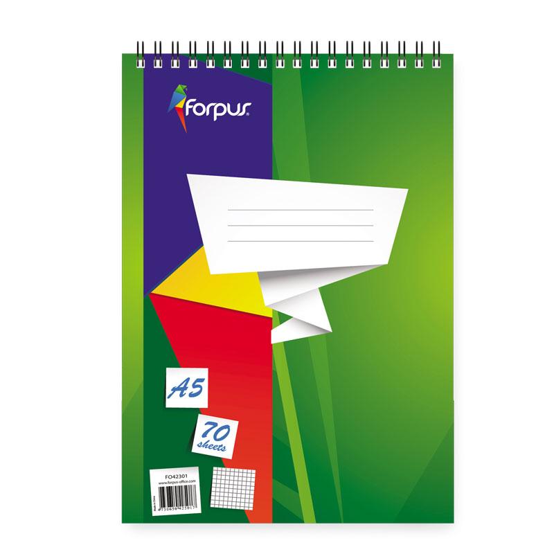 Bloknots ar spirāli FORPUS rūtiņu, A5 formāts 70 lapas