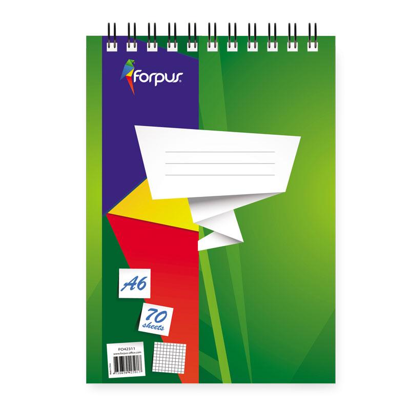 Bloknots ar spirāli FORPUS rūtiņu, A6 formāts 70 lapas