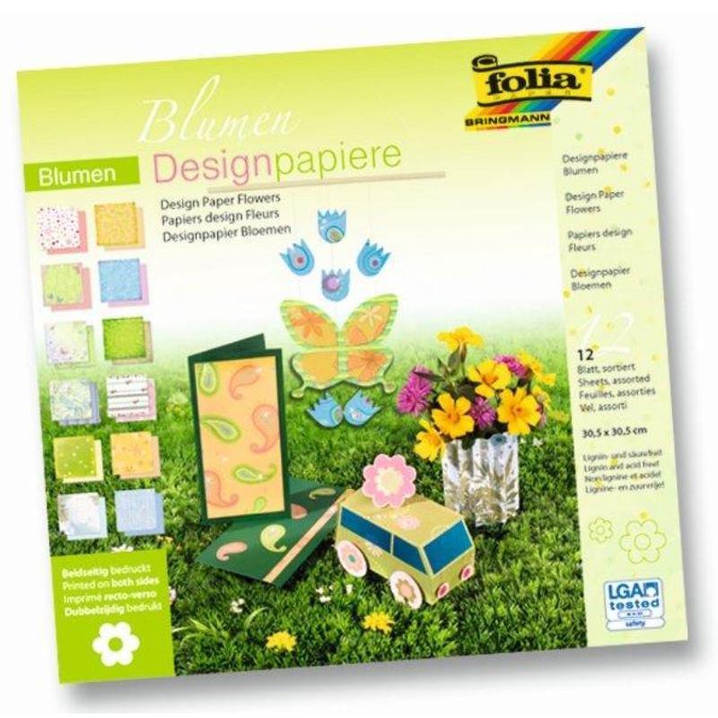 Albums ar dizaina papīru FOLIA ZIEDI komplektā 12 loksnes