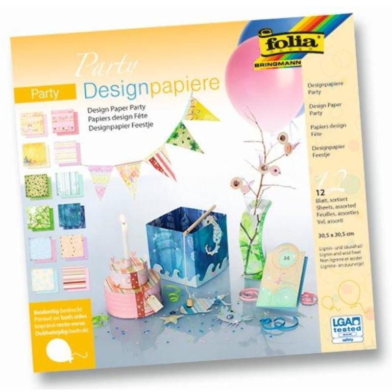 Albums ar dizaina papīru FOLIA PARTY komplektā 12 loksnes