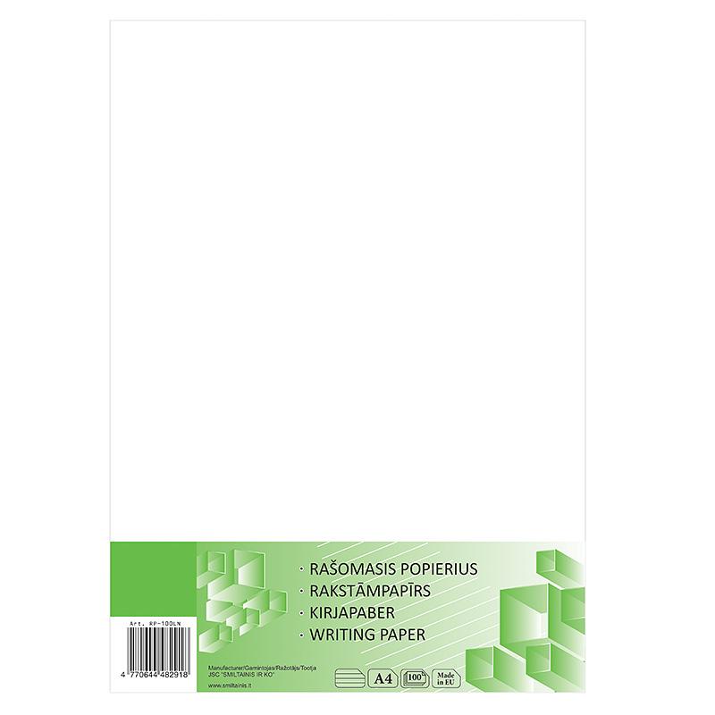 Rakstāmpapīrs ABC JUMS A4 formāts, 55g/m2, 100 loksnes līniju