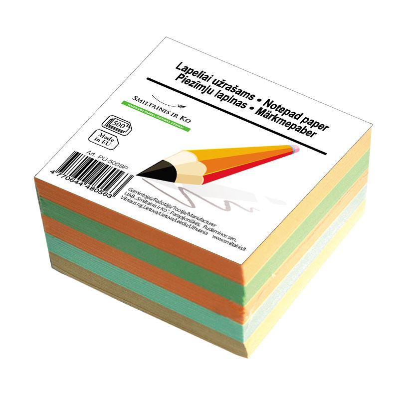Piezīmju papīrs Smiltainis (maiņa), 9x9cm, 500 lapas krāsainas       (PU-500SP)