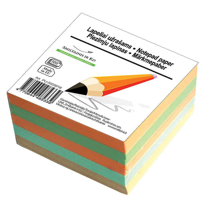 Piezīmju papīrs Smiltainis maiņai , 8x8cm, 500 krāsains