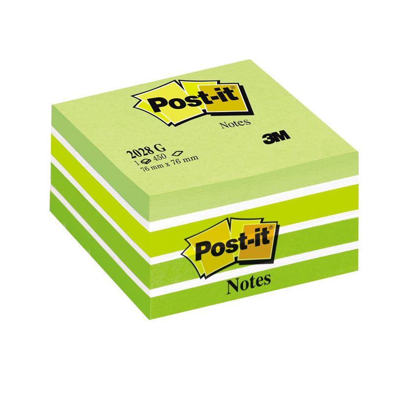 Piezīmju līmlapiņu kubs POST-IT Aquarelle, 76x76mm, zaļā krāsā