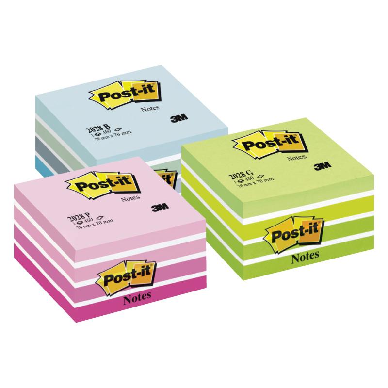 Piezīmju līmlapiņu kubs POST-IT Aquarelle, 76x76mm, rozā krāsā