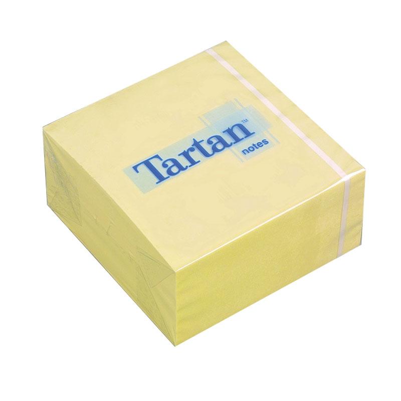 Piezīmju līmlapiņu kubs TARTAN, 76x76mm, dzeltens