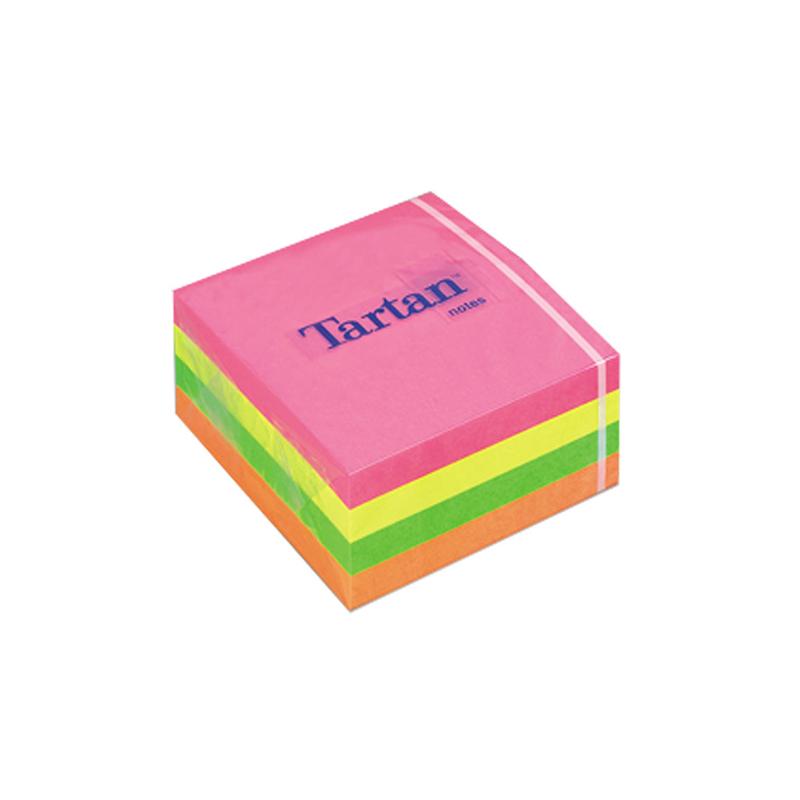 Piezīmju līmlapiņu kubs TARTAN, 76x76mm, 400 krāsainas lapiņas