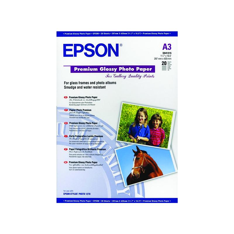 Fotopapīrs EPSON Premium A3 255g/m2., 20 loksnes/iep., glancēts