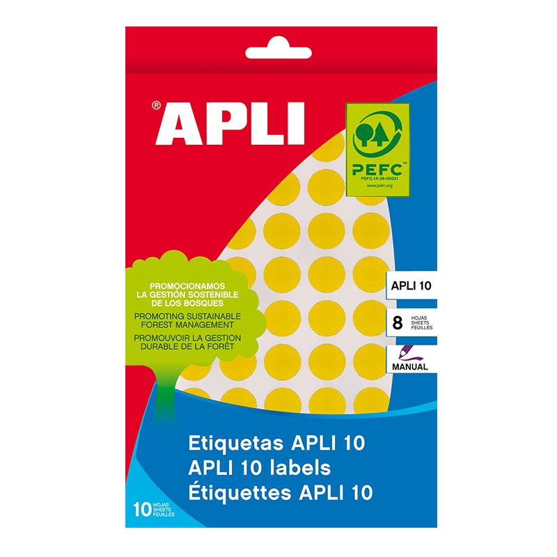 Apaļas uzlīmes APLI ar diametru 19mm, 8 loksnes/320 uzlīmes dzeltenas