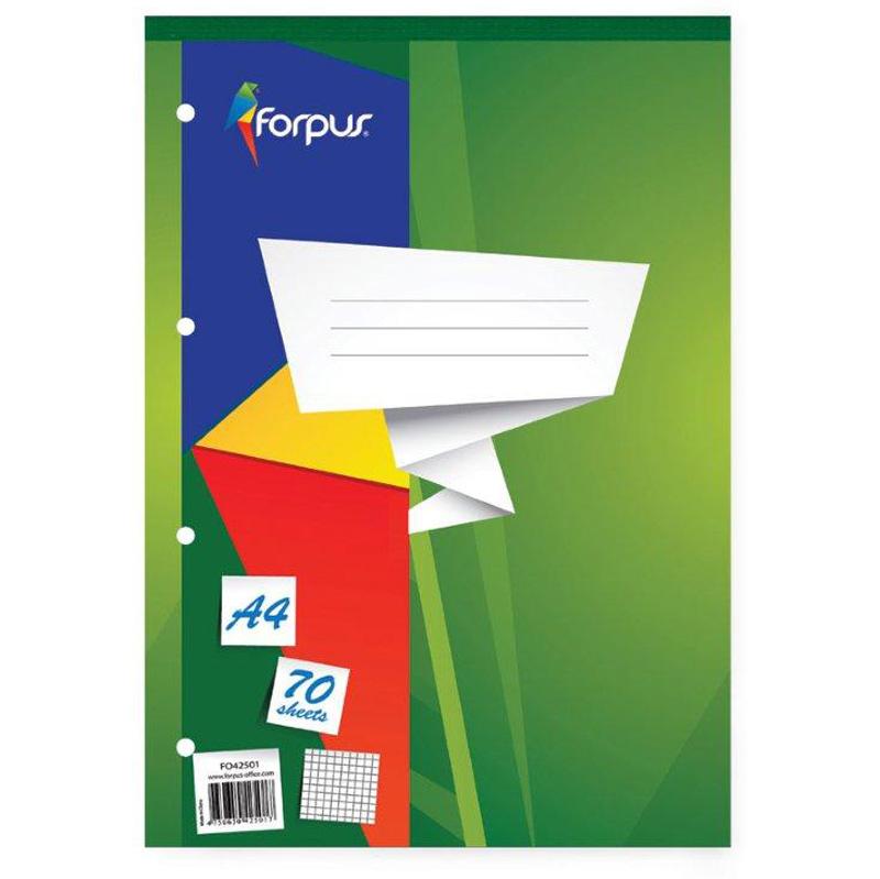 Bloknots FORPUS rūtiņu ar caurumiem, A4 formāts 70 lapas